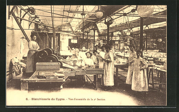 AK Blanchisserie du Cygne, Vue d'ensemble de la 2e Section, Waschfrauen, Werbung