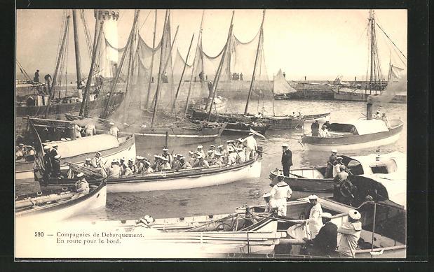 AK Compagnies de Débarquement, En route pour le bord, Ruderboote der französ. Marine im Hafen
