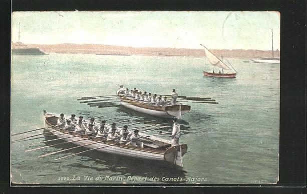 AK La Vie du Marin, Départ des Canots-Majors, Ruderboote der französ. Marine