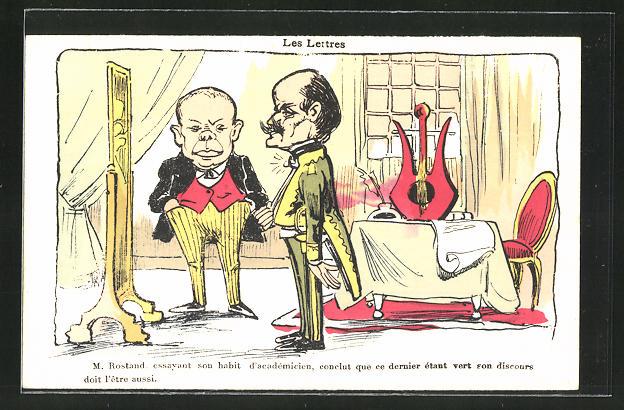 AK Les Lettres, M. Rostand, Karikatur