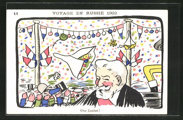 AK Loubet, Voyage en Russie 1902, Karikatur