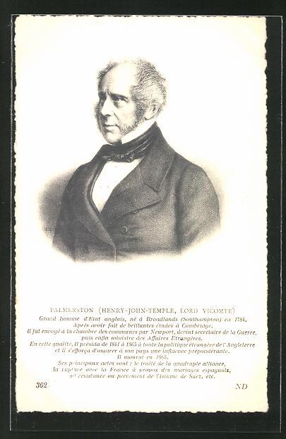 AK Henry-John-Temple, Lord Vicomte Palmerston, britischer Premierminister