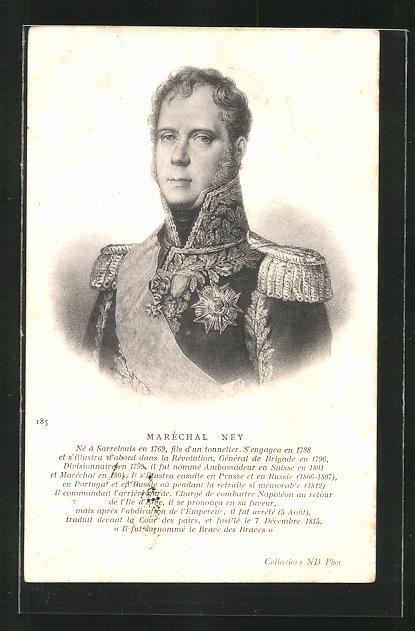 AK Maréchal Ney, Portrait in Uniform mit Epauletten
