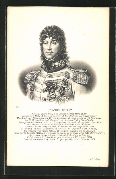 AK Jaochim Murat, Portrait des Offiziers mit Epauletten