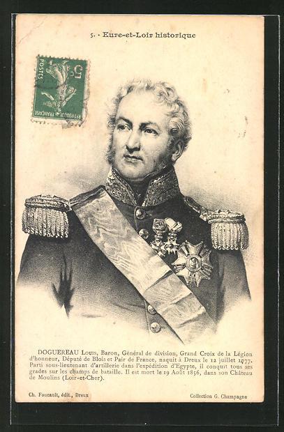 AK Eure-et-Loir historique, Louis Baron Doguereau, französ. General