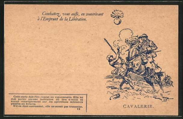 Künstler-AK Französischer Kavallerist im Gefecht