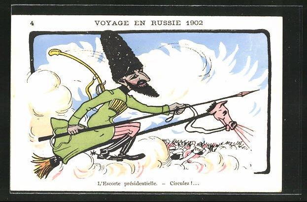 AK Voyage en Russie 1902, Karikatur eines russischen Kavalleristen