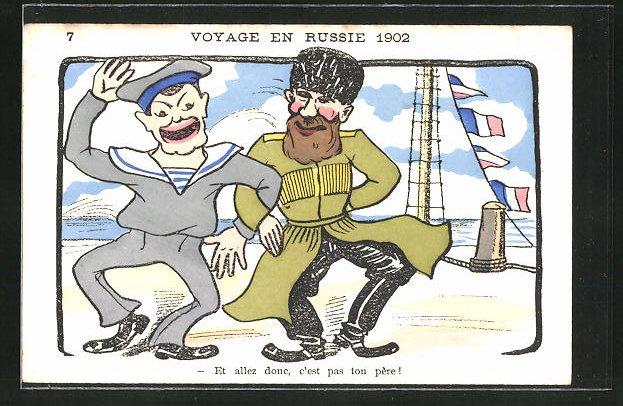 AK Voyage en Russie 1902, Karikatur eines russischen und japanischen Soldaten