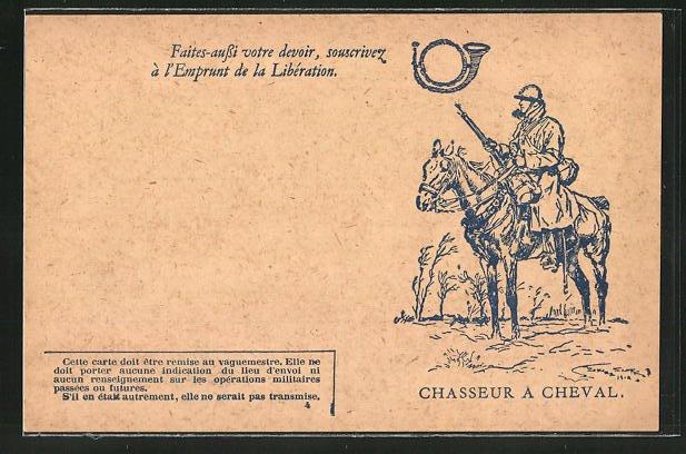 Künstler-AK Chasseur a Cheval, Kavallerist in Uniform