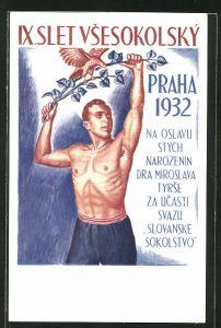 AK Prag, IX. Slet Vsesokolsky v Praze 1932, Sokol, Sportler mit Sieges-Lorbeer