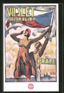 AK Prag, VII. Slet Vsesokolsky v Praze 1920, Frauen mit Fahne, Sokol