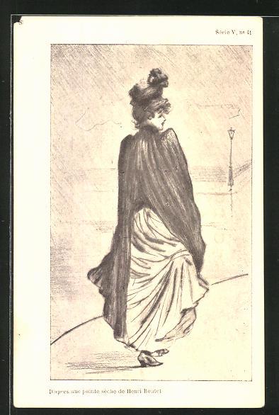 Künstler-AK sign. Henri Boutet: Elegante Dame beim Spaziergang