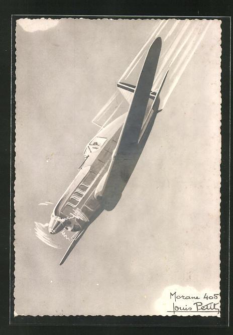Künstler-AK Louis Petit: Morane 405, französ. Kampfflugzeug