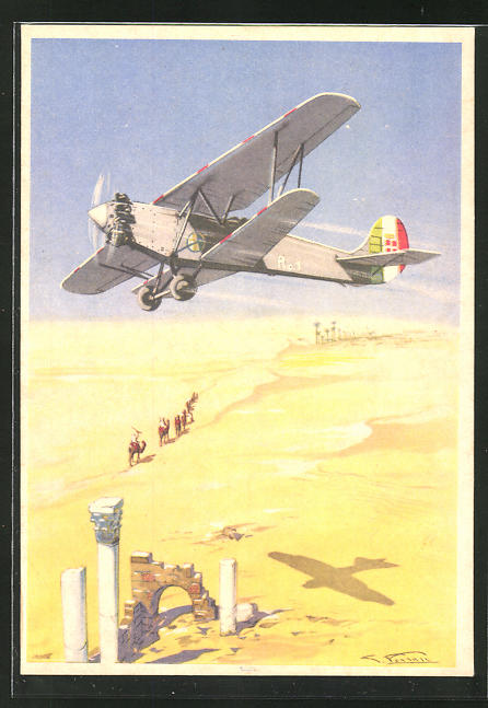 Künstler-AK Arma Aeronautica, In Affrica..., ital. Liftwaffe, Doppeldecker