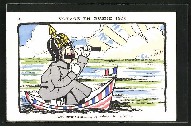 AK Voyage en Russie 1902, Kaiser Wilhelm II. im Boot auf hoher See, Karikatur