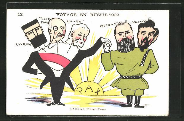 Künstler-AK Voyage en Russie 1902, L'Alliance Franco-Russe, Karikatur des Zaren Nikolaus II. von Russland