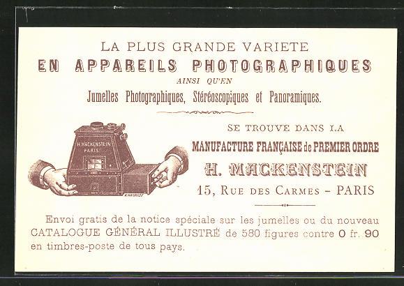 AK Paris, Fotoapparate von H. Mackenstein, 15 Rue des Carmes