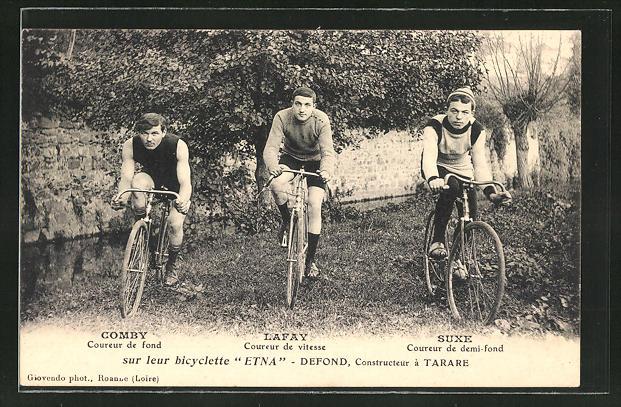 AK Radsportler Comby, Lafay und Suxe auf ihren