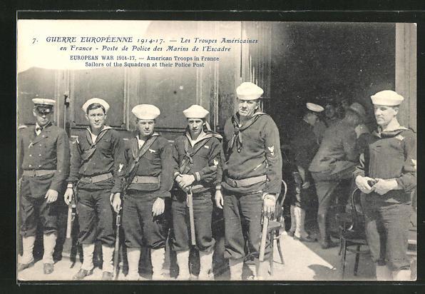 AK Amerikanische Truppen in Frankreich, Männer der Marine-Polizei