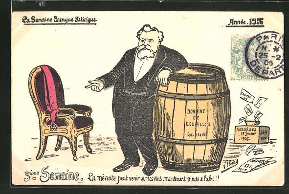 Künstler-AK Karikatur des Präsidenten von Frankreich Fallieres