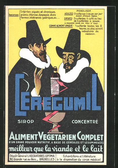 AK Medikament Ceregumil, Aliment vegetarien Complet, zwei Herren mit Medikamentenflasche