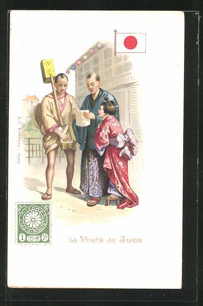 AK La Poste au Japon, japanischer Briefträger übergibt Post