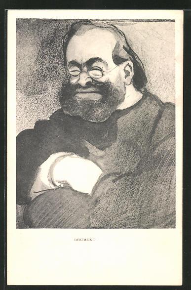 AK Karikatur des Antisemiten Drumont, Synagoge