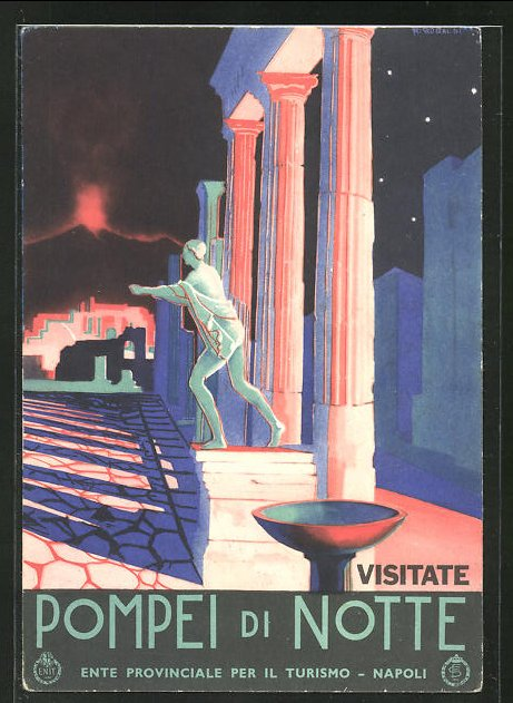 Künstler-AK Ferdinand von Reznicek: Napoli, Pompei di Notte
