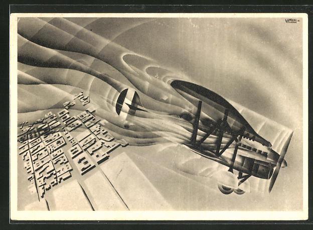 AK Art Deco, Doppeldecker im Flug