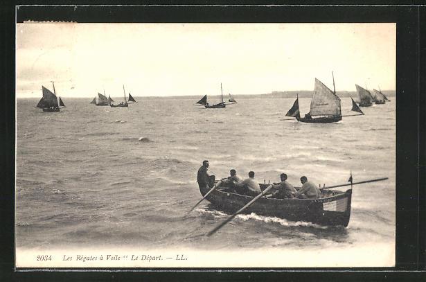 AK Les Regates a Voile, Le Depart, Ruder- und Segelboote