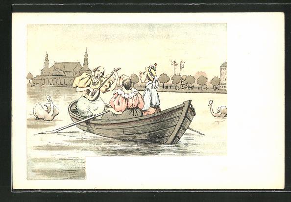 Lithographie Frauen singen mit Laute im Ruderboot