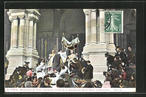AK Paris, Benediction de Paris, donnee du Porche de la Basilique du Sacre Coeur a Montmarte