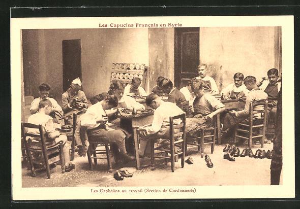 AK Les Orphelins au travail, Section de Cordonnerie, Schuhmacher