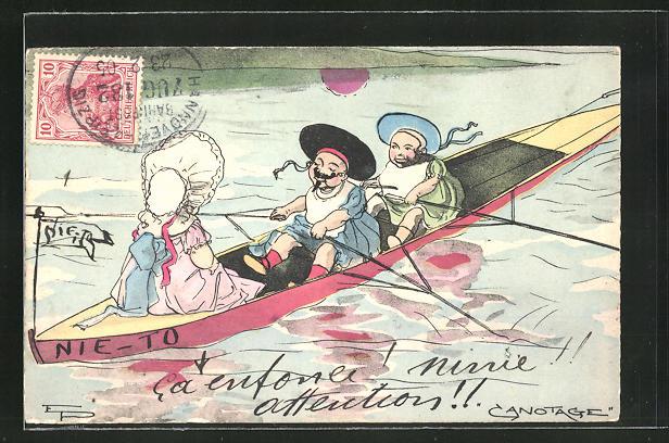 Künstler-AK Kinder in Tracht rudern auf dem See