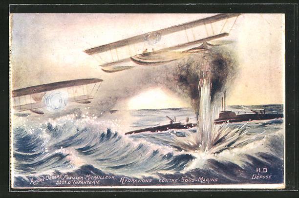 AK Wasserflugzeuge greifen ein U-Boot an