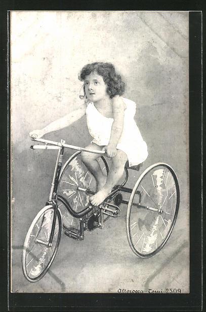 AK Mädchen mit Dreirad