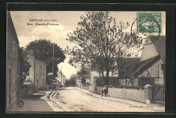 AK Genlis, Rue Claude-Proteau, Strassenpartie