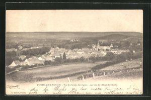 AK Pouilly-en-Auxois, Vue du larrey des vignes, Au loin le village de Chailly