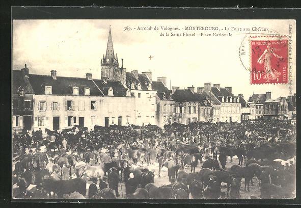 AK Montebourg, La Foire aux Chevaux de la Saint-Floxel, Place Nationale