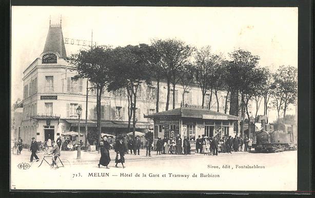 AK Melun, Hotel de la Gare et Tramway de Barbizon