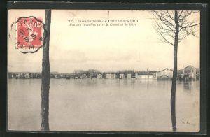 AK Chelles, Inondations 1910, Plaines inondees entre le Canal et la Gare