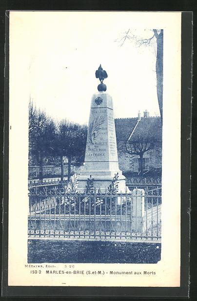 AK Marles-en-Brie, Monument aux Morts, Kriegerdenkmal
