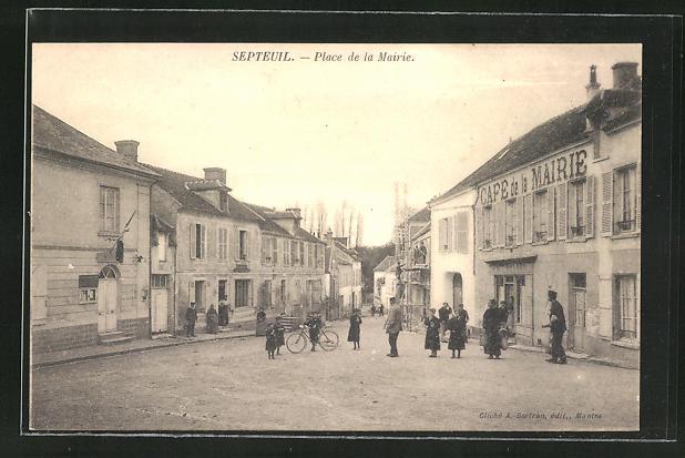 AK Septuil, Place de la Mairie, Café de la Mairie