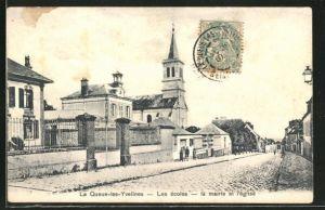 AK La Queue-les-Yvelines, Les Ecoles, la Mairie et l'Eglise