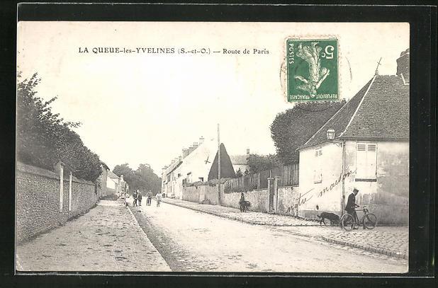 AK La Queue-les-Yvelines, Route de Paris, Strassenpartie