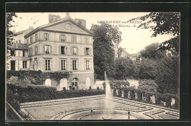 AK Carrière-sur-Seine, La Mairie, Blick zum Rathaus
