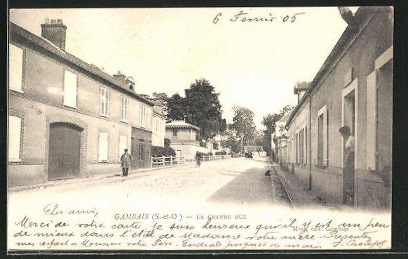 AK Gambais, La Grande Rue, Strassenpartie