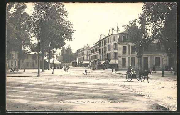 AK Versailles, Entrée de la Rue des Chantiers