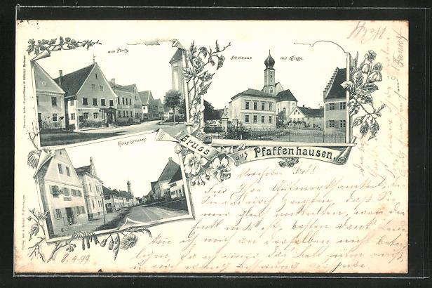 AK Pfaffenhausen, Hauptstrasse, am Platz, Schulhaus mit Kirche
