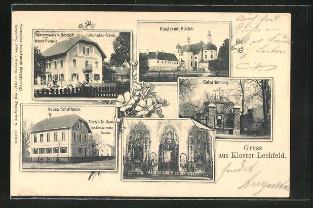 AK Kloster-Lechfeld, Specereiwaren-Geschäft und Limonaden-Fabrik Frühholz, Neues Schulhaus